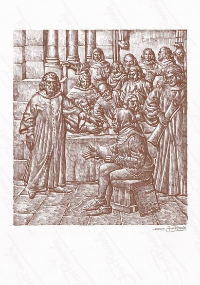 'Reunión del Concejo en el atrio de la Iglesia de Santiago'