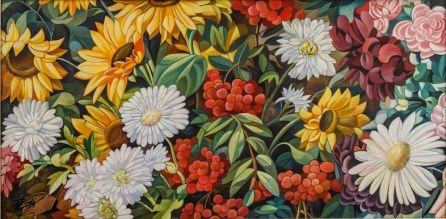 'Flores' oleo del artista gallego José Ramón